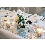 Kicode Sparkly sequin Chemins de table Pour Wedding Party Birthday Party de Noël Prom (Argent)
