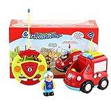 Bubbry Camion de Pompiers de Dessin animé de télécommande 2 canaux Musique et lumière et Jouet sonore