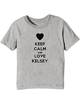 Keep Calm And Love Kelsey Bambini Unisex Ragazzi Ragazze T-Shirt Maglietta Grigio Maniche Corte Tutti Dimensioni...