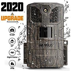 WiMiUS Caméra de Chasse, 16MP 1080P HD Appareil Photo Chasse 32 Capteurs Infrarouges LED de 940nm Camera Nocturne Animaux avec 2.0'' LCD et Detecteur de Mouvement