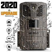 WiMiUS Wildkamera 16MP 1080P mit Bewegungsmelder Infrarot- Nachtsicht IP66 wasserdichte Gehäuse,Wildtierkamera für Wildtierjagd und Heimsicherheit