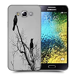 Snoogg Black Crow Birds Printed Protective Phone Back Case Cover ForSamsung Galaxy E5