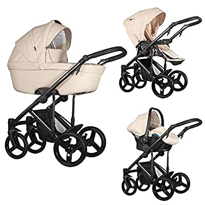 Venicci Asti 3-in-1 Travel System - Beige - with Carrycot + Car Seat + Changing Bag + Footmuff + Raincover + Mosquito Net + 5-Point Harness and UV 50+ Fabric + Car Seat Adapters + Cup Holder