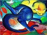 Posterlounge Forex-Platte 130 x 100 cm: Zwei Katzen, Blau und Gelb von Franz Marc