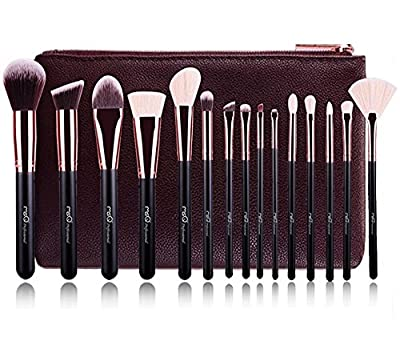 MSQ® Professional 15pcs Makeup Brushes Set Rose Gold Powder Cosmetic Make up Brushes Animal&Synthetic Hair With PU Leather Case by MSQ