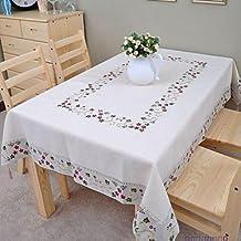 ZYT bordado algodón mantel mantel de lino mantel 135 * 175cm clásica