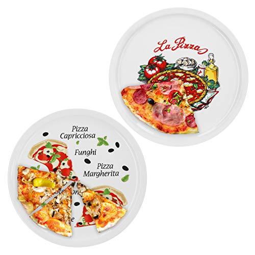 Van Well 2er Set Pizzateller Napoli & Margherita groß - 30,5cm Porzellan Teller mit schönem Motiv - für Pizza/Pasta, den \'großen Hunger\' oder zum Anrichten geeignet