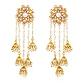 #7: Shining Diva Fashion Jewelry Jewellery Gold Plated Stylish Fancy Party Wear Pearl Jhumka Jhumki Traditional Earrings For Women & Girls