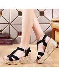 0c470bdef988a YMFIE Estate piattaforma sandali con zeppa tacco in pelle pesce bocca scarpe  da donna all