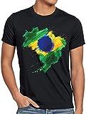 CottonCloud Flagge Brasilien Herren T-Shirt Fußball Sport Brazil WM EM Fahne, Farbe:Schwarz, Größe:4XL
