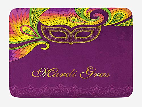 JIEKEIO Mardi Gras Bath Mat, Colorful Lace Style Corner Ornaments Calligraphy and Dotted Mask Design, Plush Bathroom Decor Mat with Non Slip Backing, 23.6 W X 15.7 W Inches, Purple ()