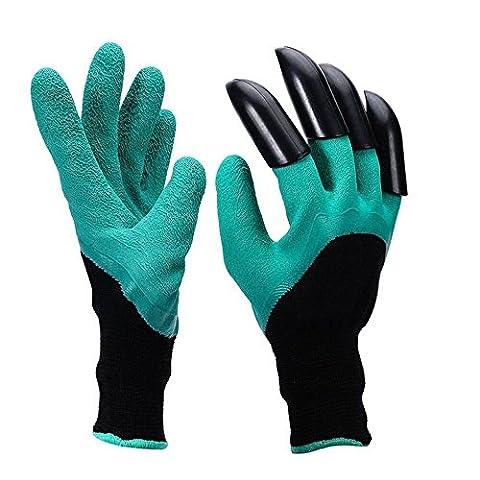 meideli Garten Genie Handschuhe mit Built in Klauen für Graben Pflanzen Pflanzen, Garten Handschuhe leicht zu graben und die Pflanze Sicher für Rose Beschneiden (1Paar)