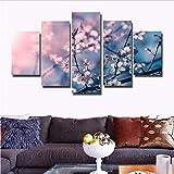 gwgdjk Moderna Stampato Decor per Soggiorno HD Wall Art Canvas Modulari Immagini Pittura 5 Pannello di Fiori Rosa Plum Blossom-40X60/80/100Cm,Without Frame
