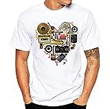 FNKDOR T-Shirt Homme, Personnalité Mode Hommes Impression d'instruments de Musique T-Shirts Chemise à Manches Courtes Tee-Shirt Décontracté Loisirs Sports Travail Blouse (Blanc, M)