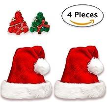 2 Gorros de Papa Noel + 2 Pinzas de Pelo   Gorro Navideño y Sombreros de Santa Claus Tradicionales Rojos y Blanco + 2 Clips de Pelo. Accesorios de Navidad para Regalos de Festividad de Jonami