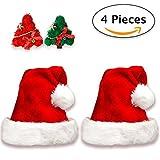 Jonami 2 Gorros de Papa Noel + 2 Pinzas de Pelo | Gorro Navideño y Sombreros de Santa Claus Tradicionales Rojos y Blanco + 2 Clips de Pelo. Accesorios de Navidad para Regalos de Festividad