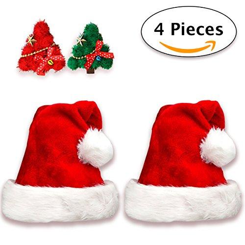 Jonami 2 Deluxe Weihnachtsmütze in Plüsch+2 Weihnachtsbaum Haarspangen |Nikolausmütze Weihnachtsmann Mütze Rot fur alle Erwachsene Einheitsgröße und Haarklammer fur Mädchen. Weihnachtszubehör