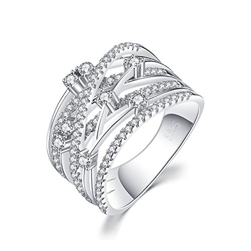 JewelryPalace Luxuriös Runde Zirkonia Breit Band Cocktail Ring 925 Sterling Silber - Band-ringe Breites Silber