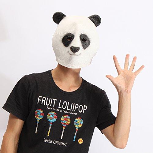 (ZYCkeji Schön Kopfmaske Panda Kopf Maske gruselig Tier Halloween Kostüm Theater Prop Latex Party Spielzeug)