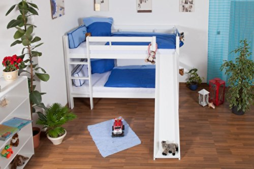 Children's bed / Bunk bed Moritz solid beech wood, in a white paint finish, includes slide, includes slatted frame - 90 x 200 cm