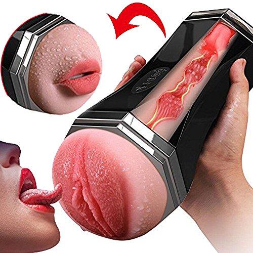 Masturbator für Männer, 3D Realistische Lnabni Doppel Cup, Vielseitige Tasse 2-in-1 Wiederverwendbare Vaginale und Orale, USB Aufladbare, Sex-Spielzeug