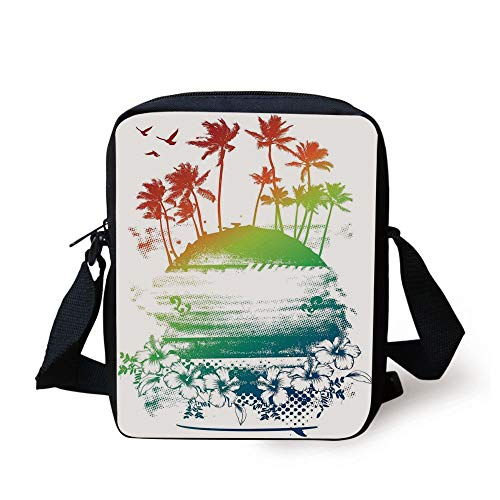 Ocean Island Decor,Grunge Style Artsy Inky Colorful Summer Scenery with Palms and Hawaiian Hibiscus Flowers,Multi Print Kids Crossbody Messenger Bag Purse (Cave Girl Island)