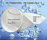 Filterbeutel, Filterstrumpf Algenkiller, Nadelfilz 150 Micron, kurze Ausführung, 42cm lang, Durchmesser 18cm