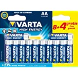 Varta High Energy AA (LR6) Alkaline Batteries Pack of 12 (8 Plus 4 Free)