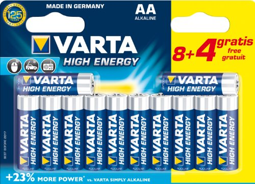 Varta High Energy-Batterie alcaline AA (LR6), confezione da 12 (8 + 4 omaggio)