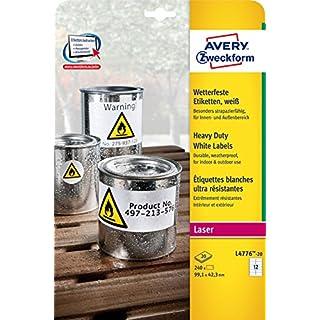 Avery Zweckform L4776-20 Wetterfeste Folien-Etiketten (A4, 240 Stück, 99,1 x 42,3 mm) 20 Blatt weiß