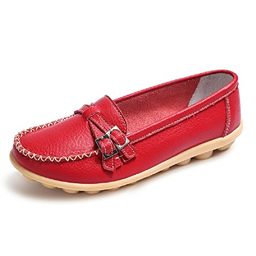 NEOKER Damen Loafers Schuhe Mokassins Plateau Leder Slipper Halbschuhe Casual Sneaker Rot 41