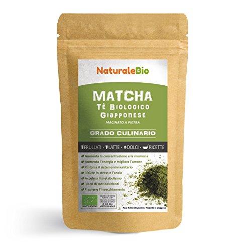 Matcha-Tee-Pulver-Bio 100 GR | Original Green Tea aus Japan | Grüntee-Pulver für Matcha-Latte, Matcha-Smoothies, Matcha-Getränk | Tee hergestellt in Japan Uji, Kyoto | NATURALEBIO®