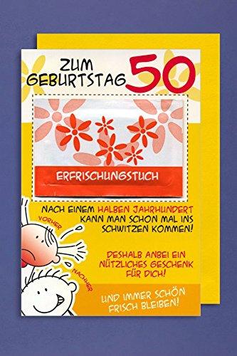 Grußkarte 50 Geburtstag Karte Humor Applikation Erfrischungstuch C6 (Geburtstagskarte 50)