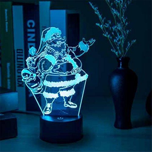 Happymood illusione 3d lampada babbo natale natale regalo interno decorazione usb touch sensor 7 colori modificare
