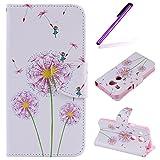 EMAXELERS LG Nexus 5X Hülle Elegant Retro Bunte Schmetterling Blumen Anime Muster PU Cover Handytasche Schale Handyhülle für LG Nexus 5X,Three Pink Dandelions
