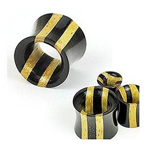 Piercing plug tunnel double stripe bois organique Taille 25 mm