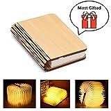 Yuanj Mini Lampada Libro, USB Ricaricabile Pieghevole in Legno LED Luce del Libro per Arredamento/scrivania/Tavolo/Parete - batterie al Litio 880mAh - Luce Calda