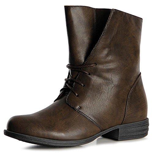 topschuhe24 1066 Damen Worker Boots Stiefeletten Schnürer Oliv Grün