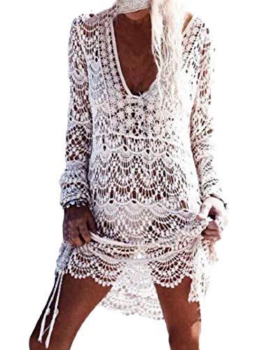 780462e3eee4 heekpek Copricostume da Bagno in Pizzo Donna Bikini Costumi Uncinetto Cavo  Coprire Spiaggia Mini Abito in