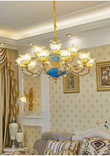 GMM® Kronleuchter in Kristall Französisch-Couchtisch-Restaurant Kronleuchter aus Holz Tischleuchte Europäischen lampe Glas verzinkt 15 (Französisch Glas-kristall-kronleuchter)