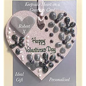Valentines day keepsake heart on a greetings card personalised