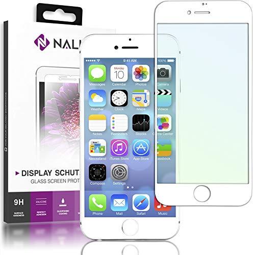 NALIA Schutzglas kompatibel mit iPhone 6 / 6S, 5D Full-Cover Displayschutz Handy-Folie, 9H gehärtete Glas-Schutzfolie Bildschirm-Abdeckung, Schutz-Film Screen Protector Tempered Glass, Farbe:Weiß