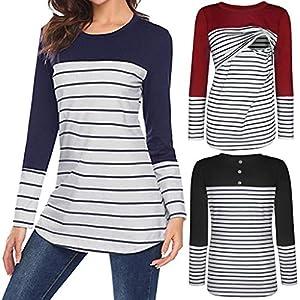 Amphia – Schwangerschaft Umstandsmode Tuniken – Gestreifte T-Shirt-Stillanzug für Schwangere Frauen mit Langen Ärmeln