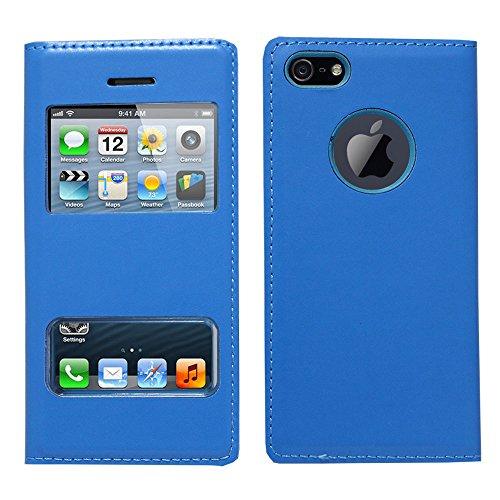 VCOMP® Etui Housse Coque flip cover View compatible pour Apple iPhone 5/ 5S/ SE + stylet - VIOLET BLEU