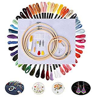 AUSHEN Embroidery Starter Kits Embroidery Floss Cross Stitch Tool Kits for Beginners with 5 Pieces Bamboo Embroidery Hoops 50 Color Threads Embroidery Needles Fabric for Adults and Kids