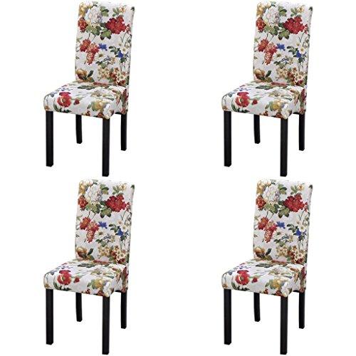 Festnight 4 Stück Esszimmerstuhl Küchenstühle Stuhlgruppe Essstuhl Stuhl Esszimmermöbel aus Holz Blumendesign