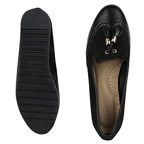 Bequeme Damen Slipper Tassel Loafer Profilsohle Flats Schuhe Schwarz Total