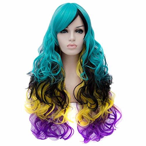 Femmes Longues Perruques Frisées Chaleur Multicolores Perruque Résistant Parti Mixte Perruques De Cheveux Ful