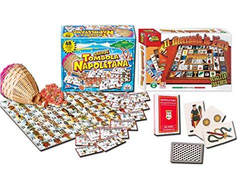 Stella Tris di Giochi Natalizi : Tombola + Carte da Gioco Napoletane + Mercante in Fiera