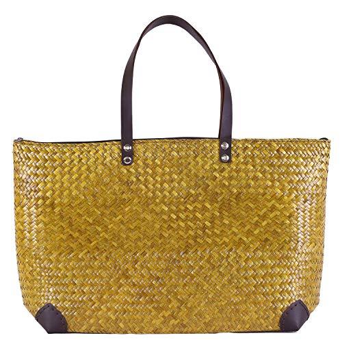 Bussarakham Handgewebte Tasche Strohhalm Sommertasche Schicke Tasche Schultertasche für Damen, Gelb (gelb), X-Large -